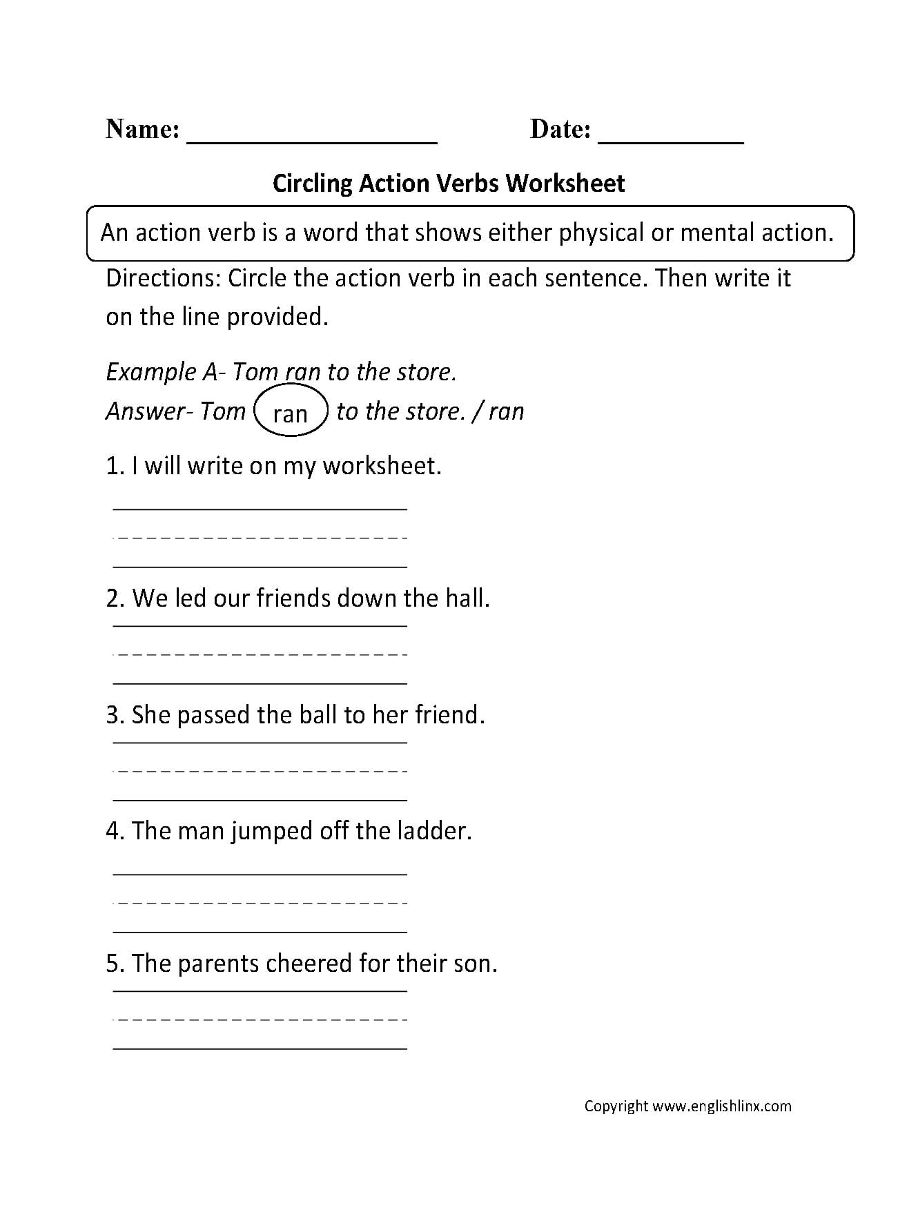 Verbs Worksheets  Action Verbs Worksheets Also Noun Verb Sentences Worksheets