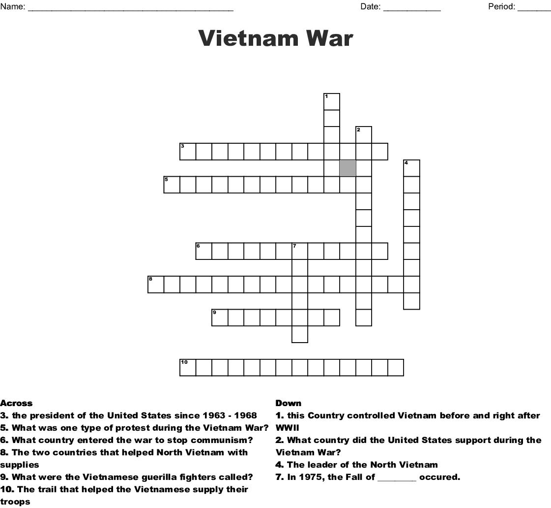 Vietnam War Crossword Puzzle  Wordmint Within Vietnam War Worksheet Answer Key