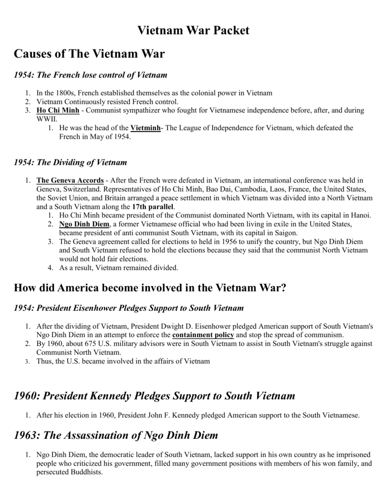 Vietnam War Packet In Vietnam War Worksheet Answer Key