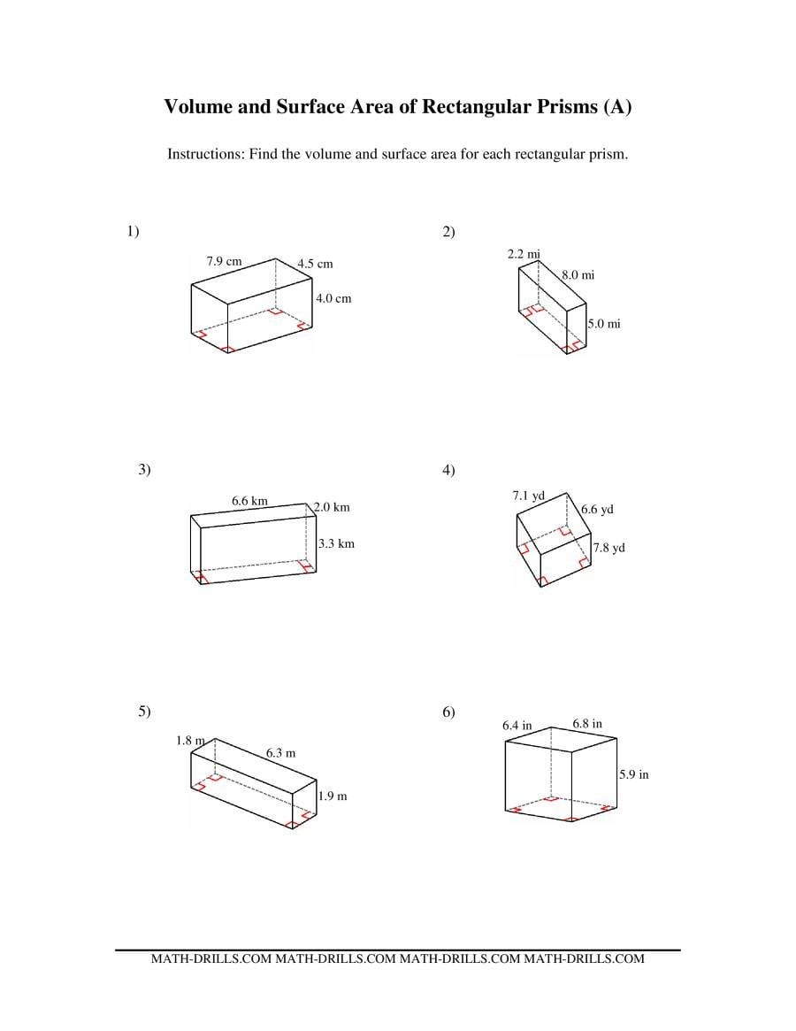 Volume And Surface Area Of Rectangular Prisms A For Surface Area Of Prisms And Cylinders Worksheet Answers