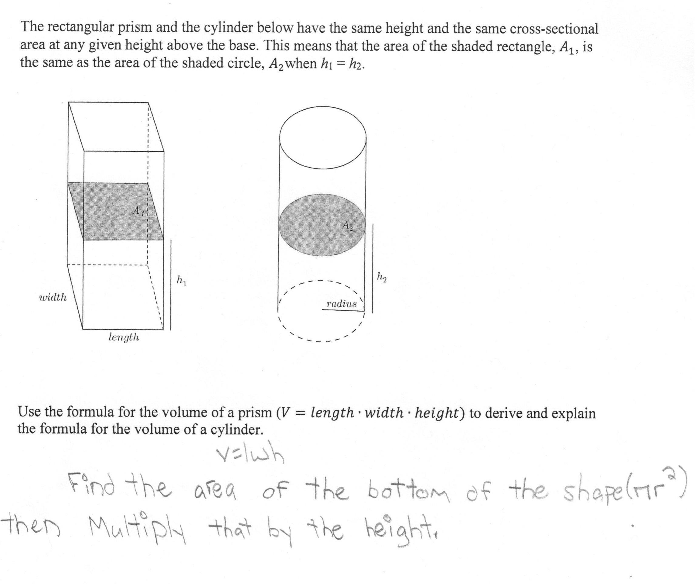 Volume Of A Cylinder Students Are Asked To Derive And Explain A In Volume Of A Cylinder Worksheet