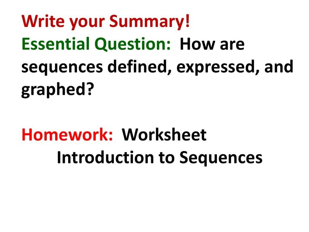 Warm Up Find The Pattern In The Number Sequences Below  Ppt Download Throughout Introduction To Sequences Worksheet