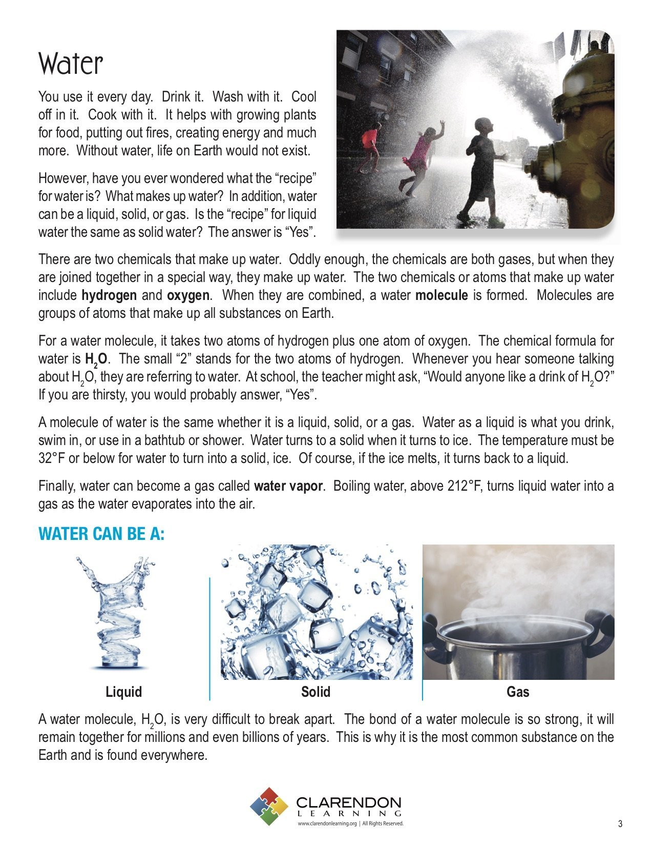 Water Water Everywhere Lesson Plan  Clarendon Learning Along With Water Water Everywhere Worksheet Answers