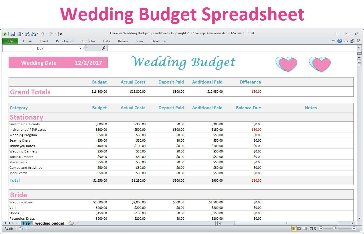 Wedding Budget Spreadsheet Planner Excel Wedding Budget  Etsy Throughout Wedding Budget Worksheet