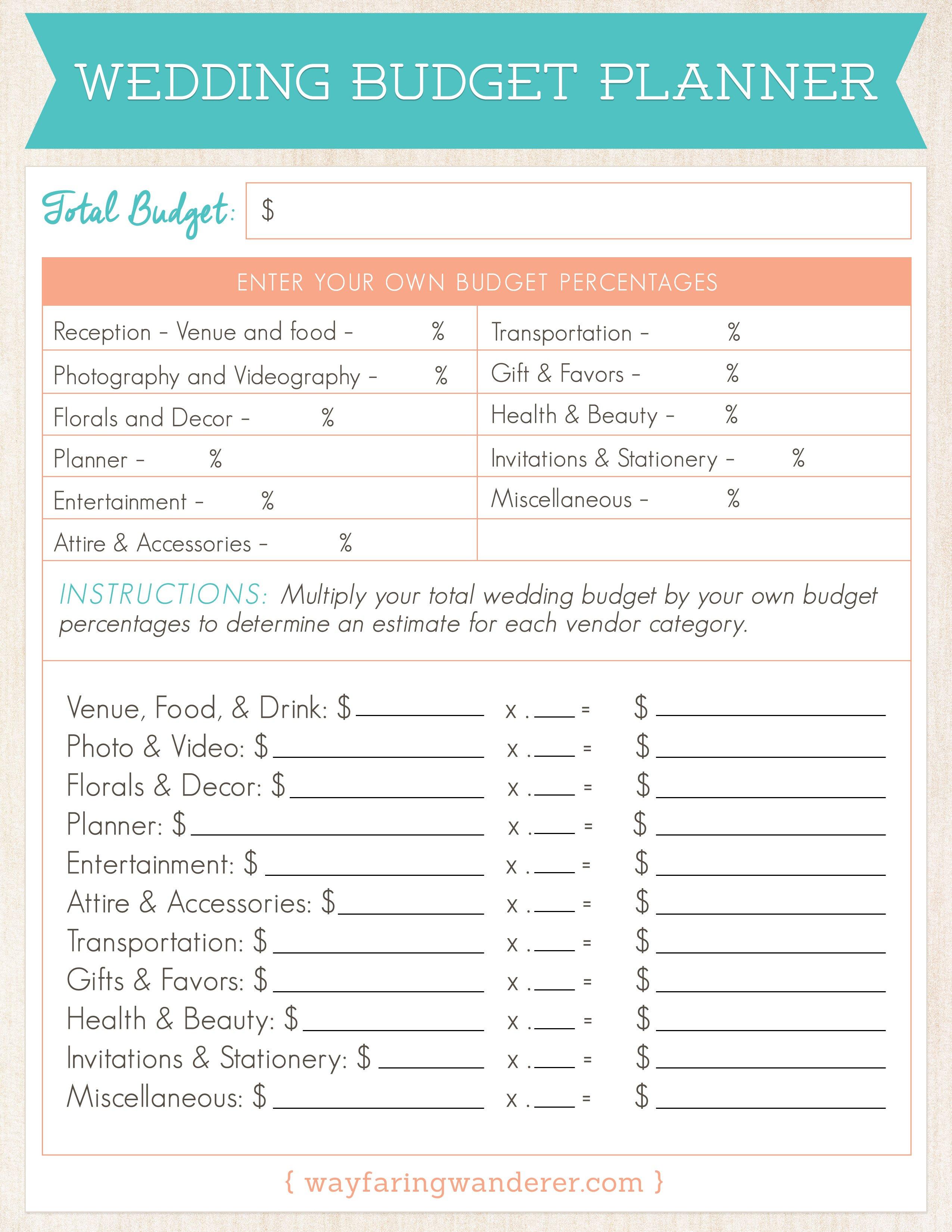 Wedding Planning Budget Worksheet  Wayfaring Wanderer Boone Nc Or Wedding Budget Worksheet