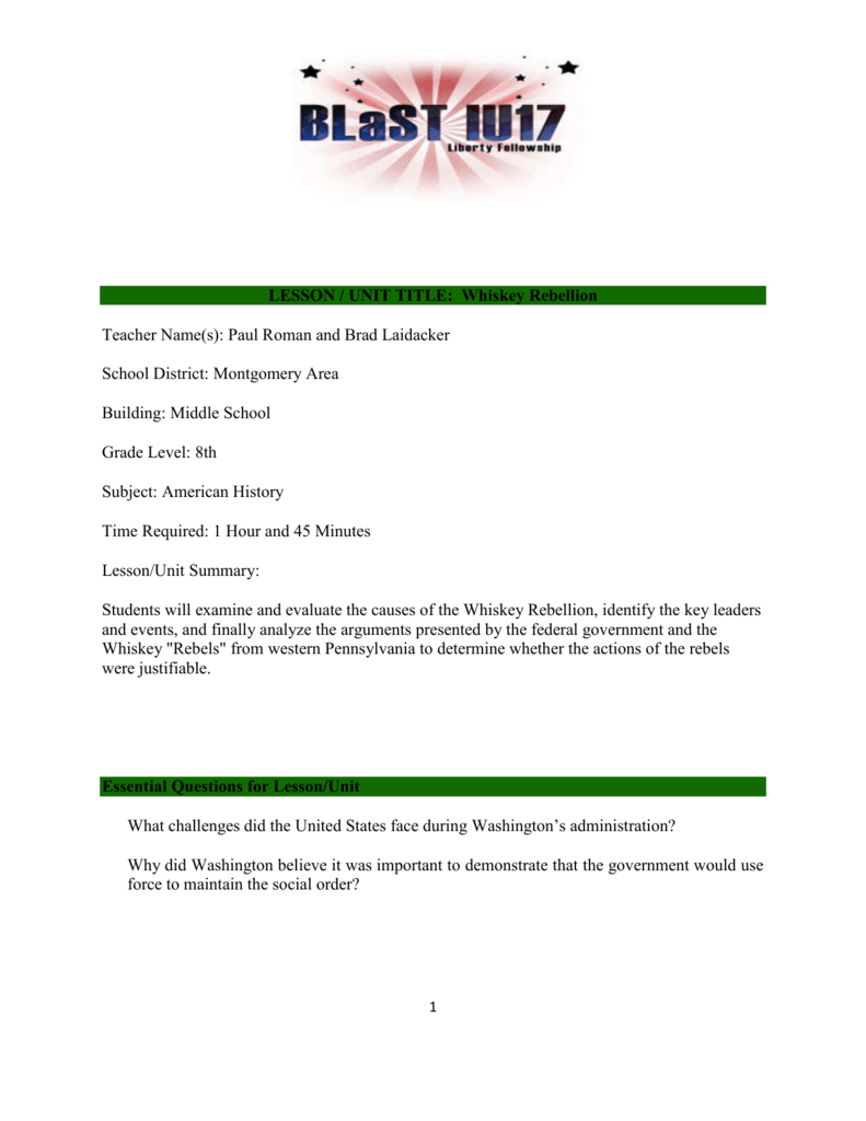 Whiskey Rebellion Lesson Plan Within America The Story Of Us Rebels Worksheet Answers