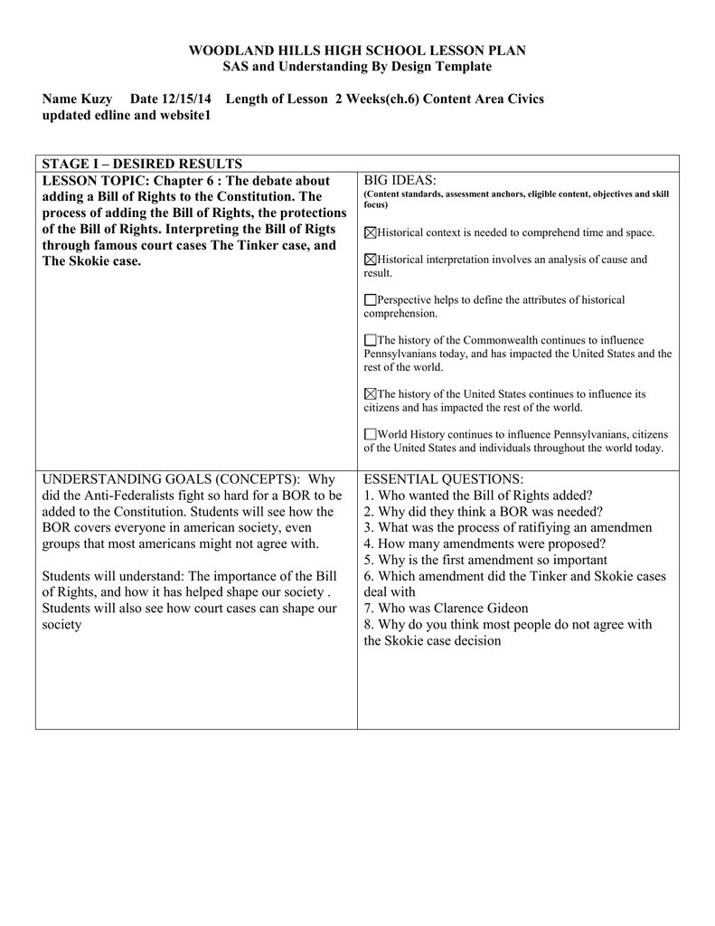 Woodland Hills High School Lesson Plan Pertaining To Bill Of Rights Worksheet High School