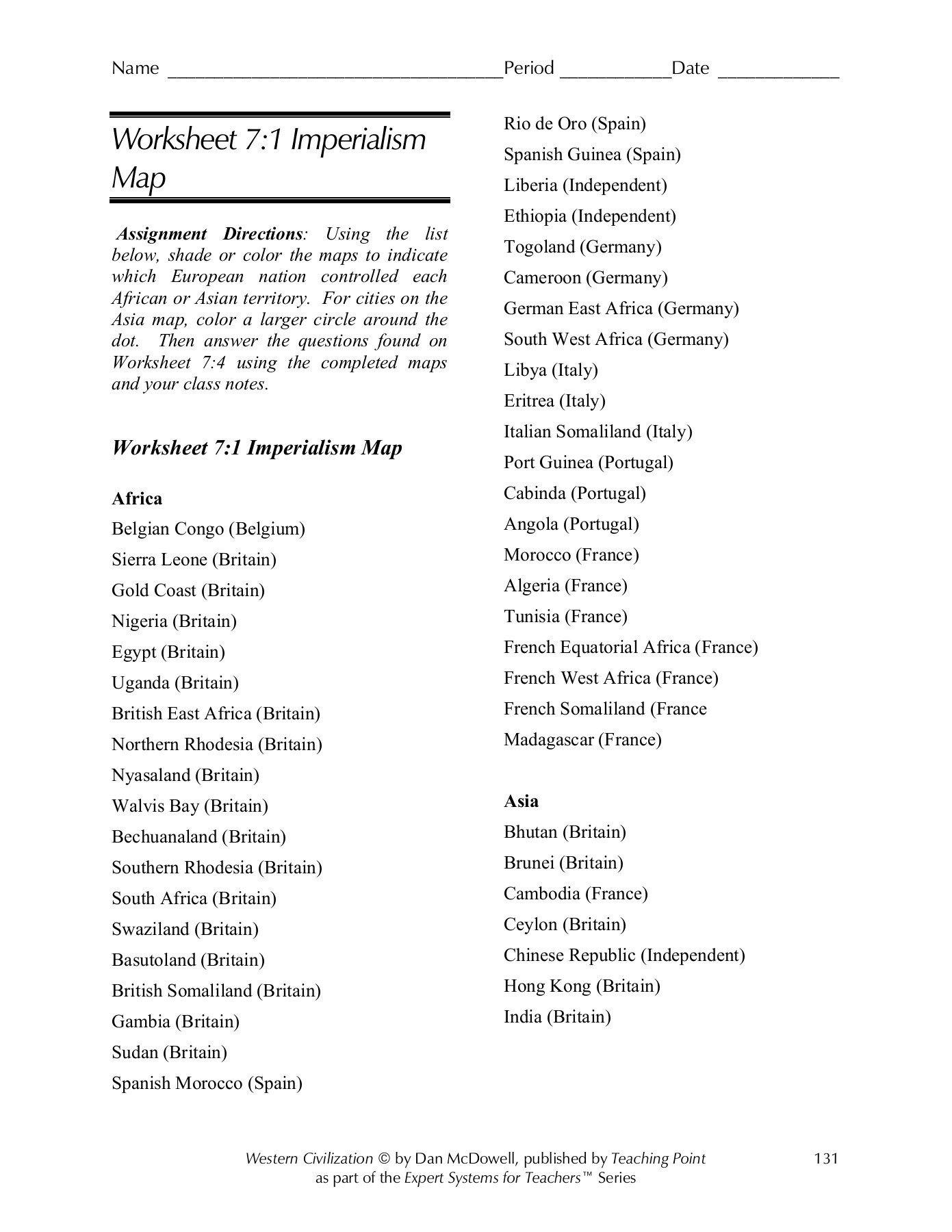Worksheet 71 Imperialism Map  Wohs Portal  Home Page Pages 1  7 And Worksheet 7 4 Imperialism Map Questions Answers