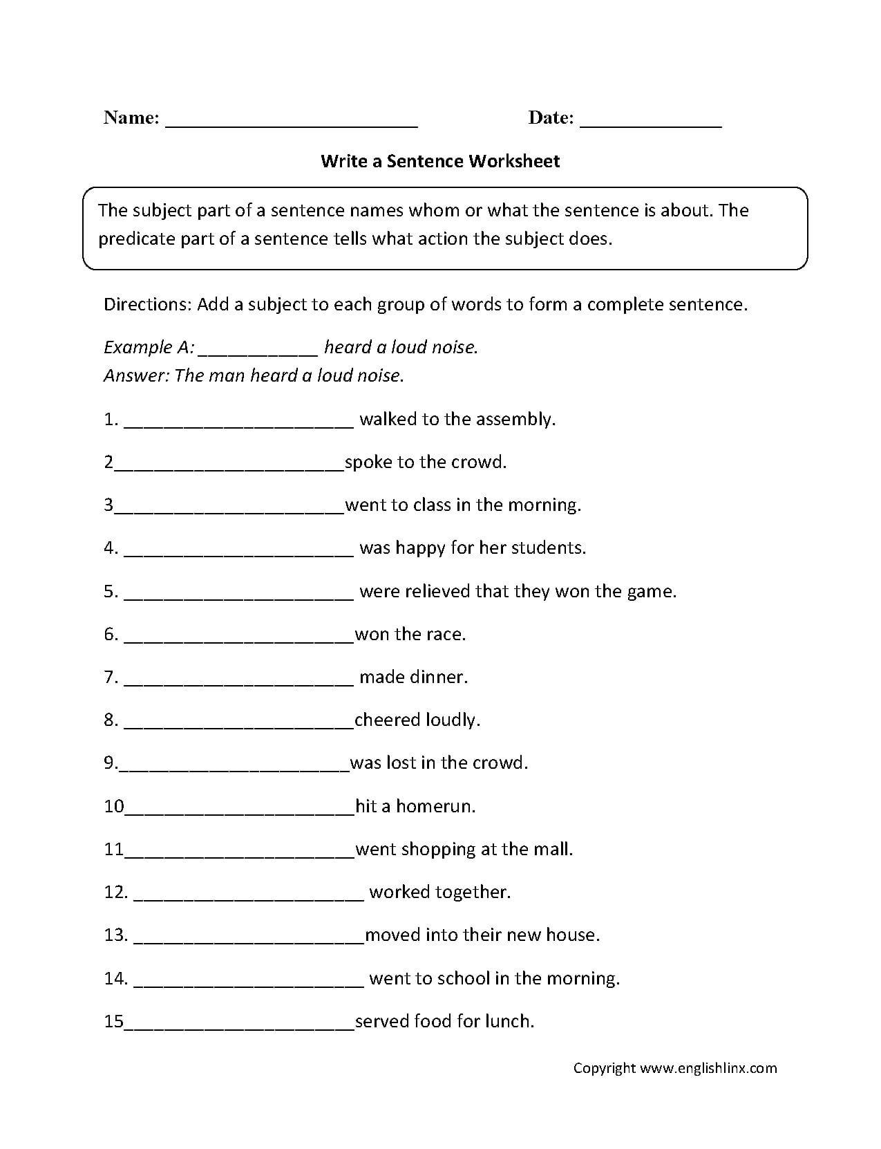 Worksheet Complete Sentences Worksheets Complete Sentence Within Writing Sentences Worksheets Pdf