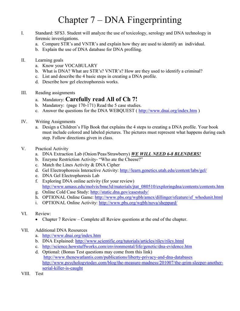 Worksheet Dna Fingerprinting Worksheet Worksheets Dna For Dna Profiling Worksheet