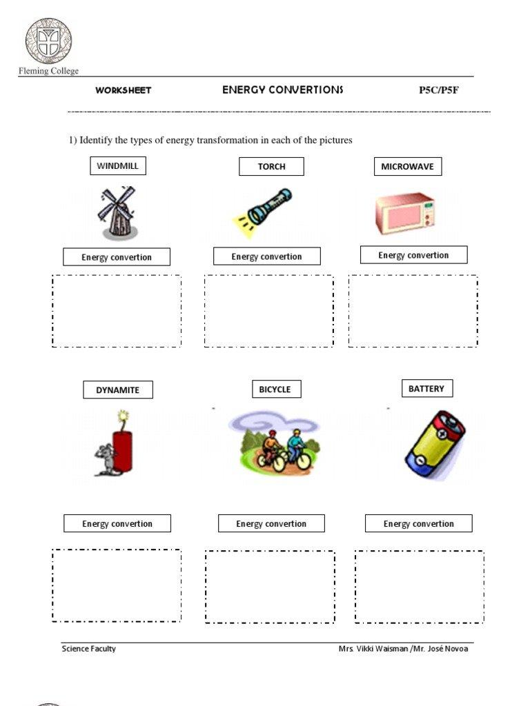 Worksheet Energy Transformation Worksheet Sound Energy Worksheets Inside Energy Transformation Worksheet
