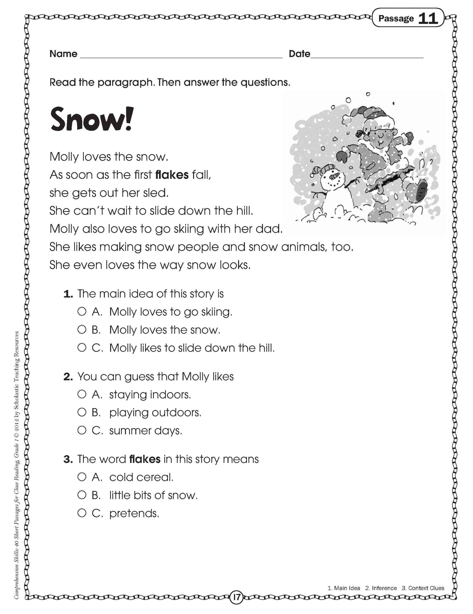 Worksheet Free Rounding Worksheets Adjectives For Grade With Intended For Comprehension Worksheets For Grade 1 Free