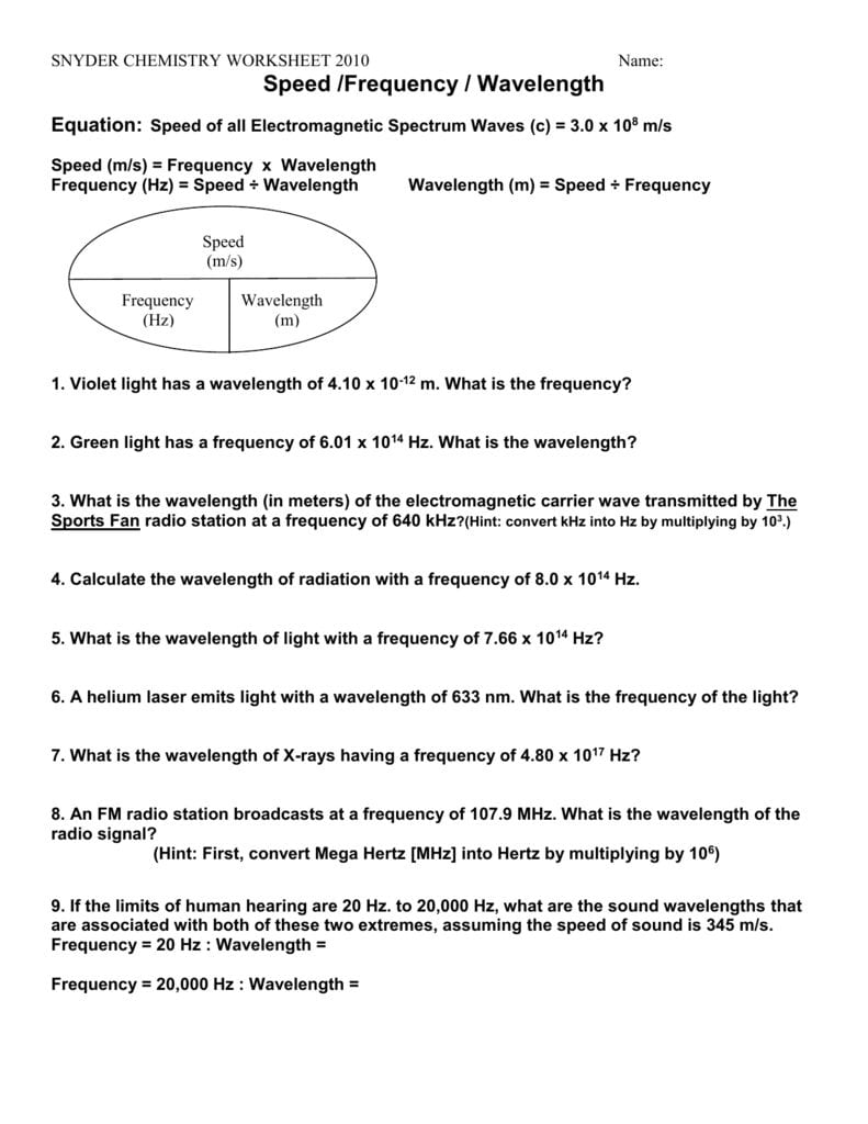 Worksheet Frequencywavelengthenergy For Chemistry Worksheet Wavelength Frequency And Energy Of Electromagnetic Waves Key