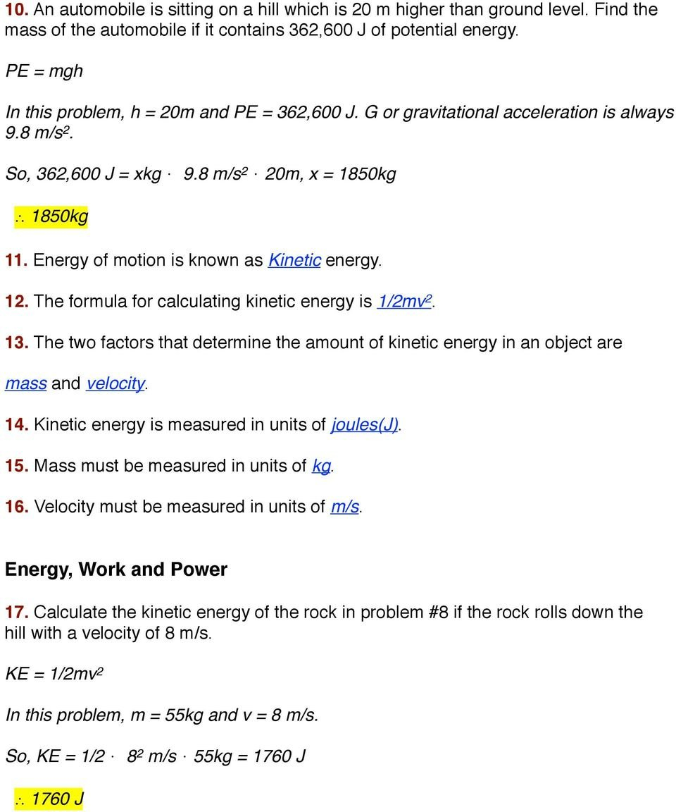Worksheet Kinetic And Potential Energy Problems  Pdf Intended For Worksheet Kinetic And Potential Energy Problems