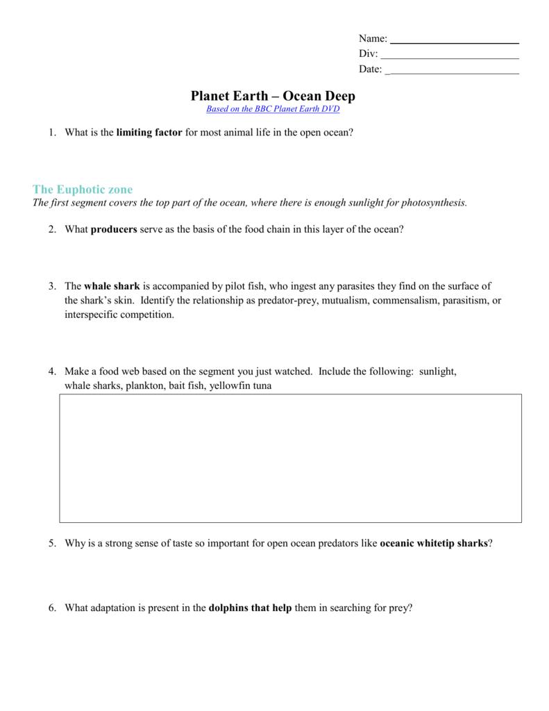 Worksheet  Planetearthdeep For Planet Earth Ocean Deep Worksheet