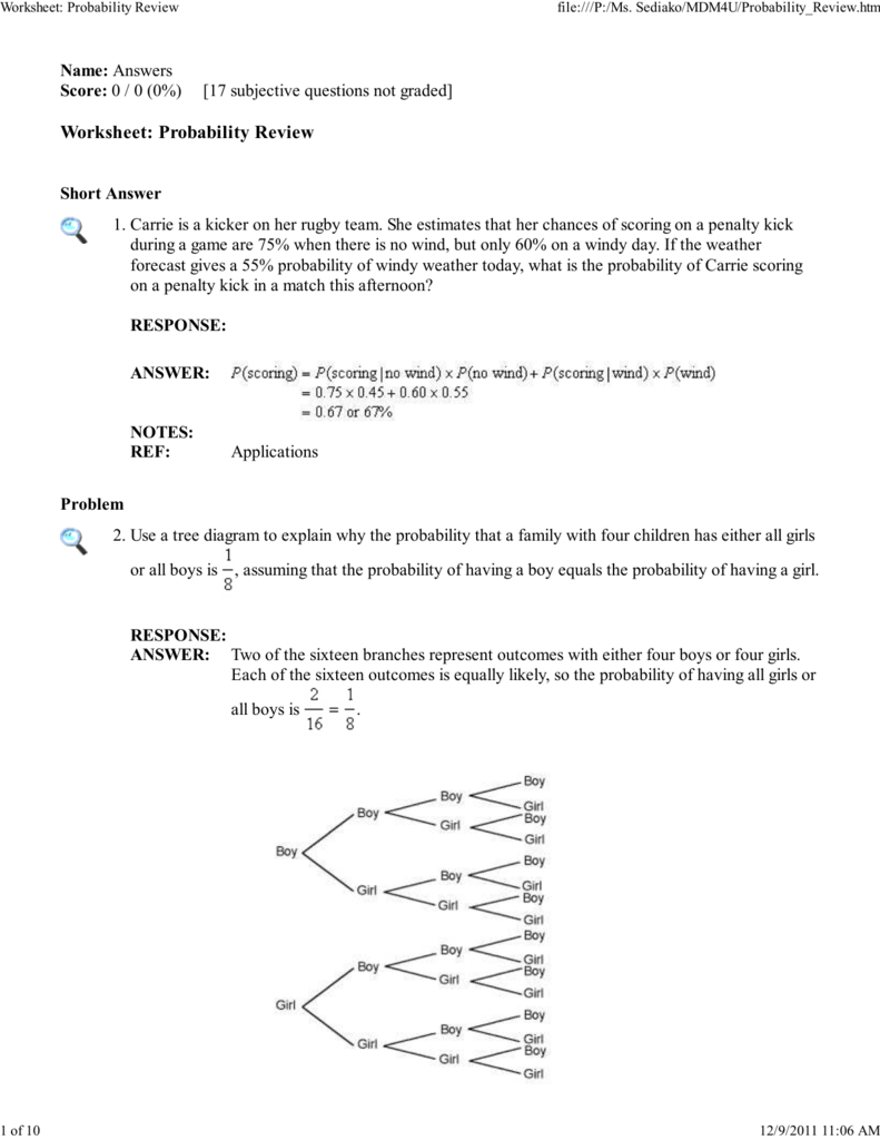 Worksheet Probability Review And Probability Review Worksheet