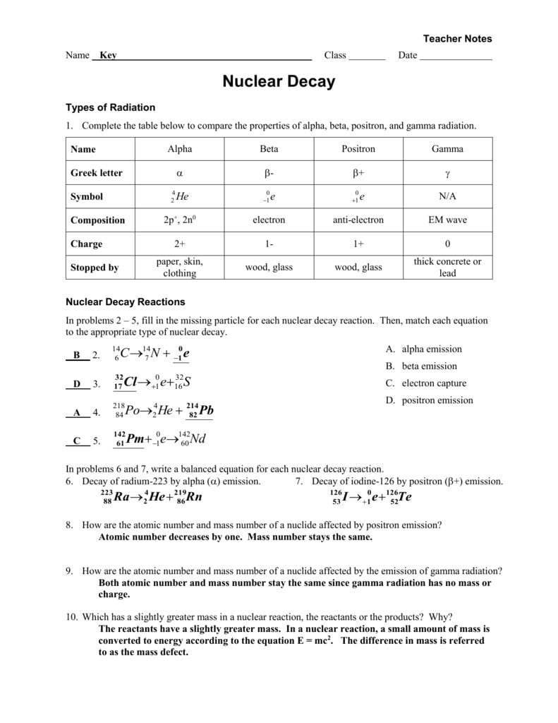 Worksheet  Radioactive Decay  Fissionfusion Key Pertaining To Nuclear Decay Worksheet Answers
