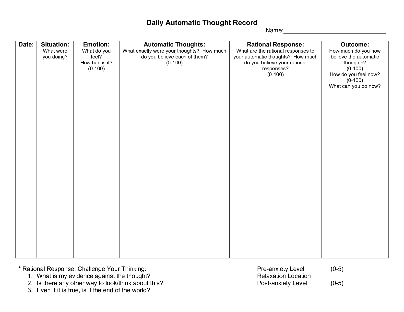 Worksheet Rebt Worksheet Automatic Thought Record Worksheet Within Cbt Worksheets For Anxiety And Depression