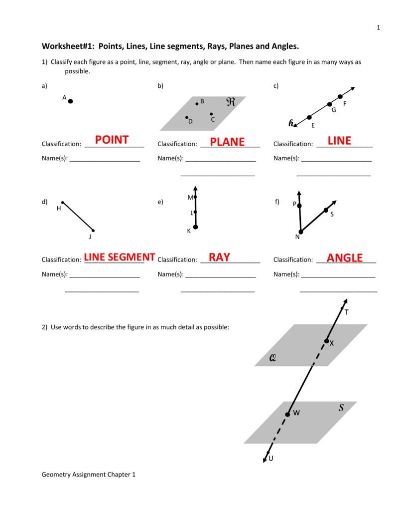 Worksheet1 Points Lines Line Segments Rays Planes And Angles Together With Lines Line Segments And Rays Worksheets