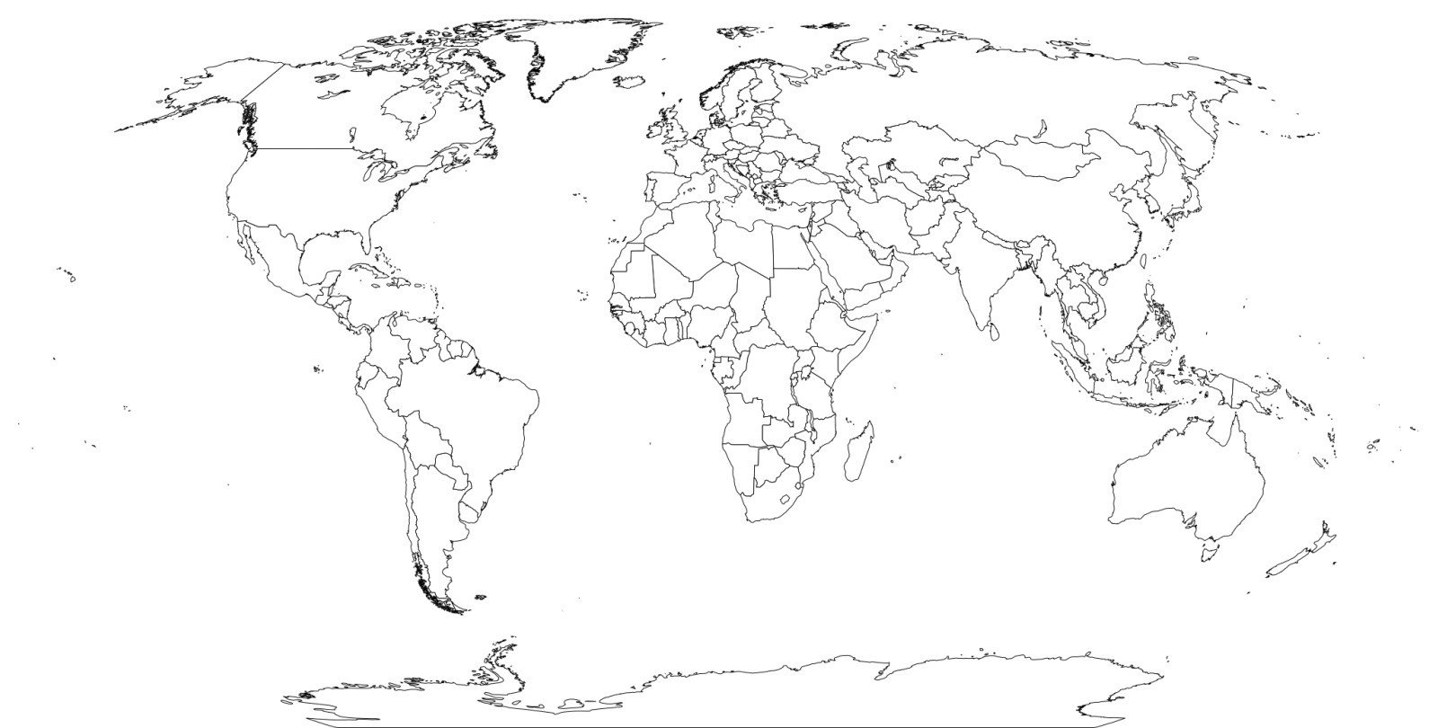 World Map Black And White Worksheet On With Country Names Printable Pertaining To World Map Worksheet