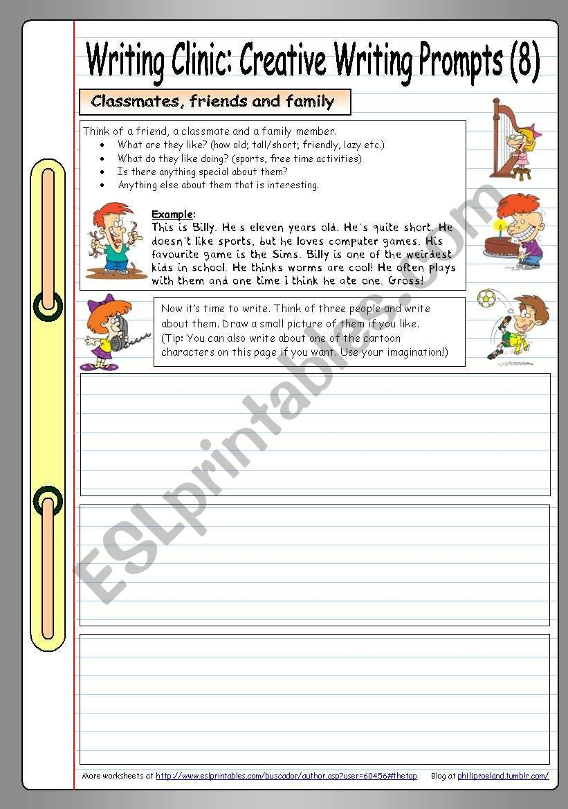 Writing Clinic Creative Writing Prompts 9  Classmates Friends Or Creative Writing Worksheets