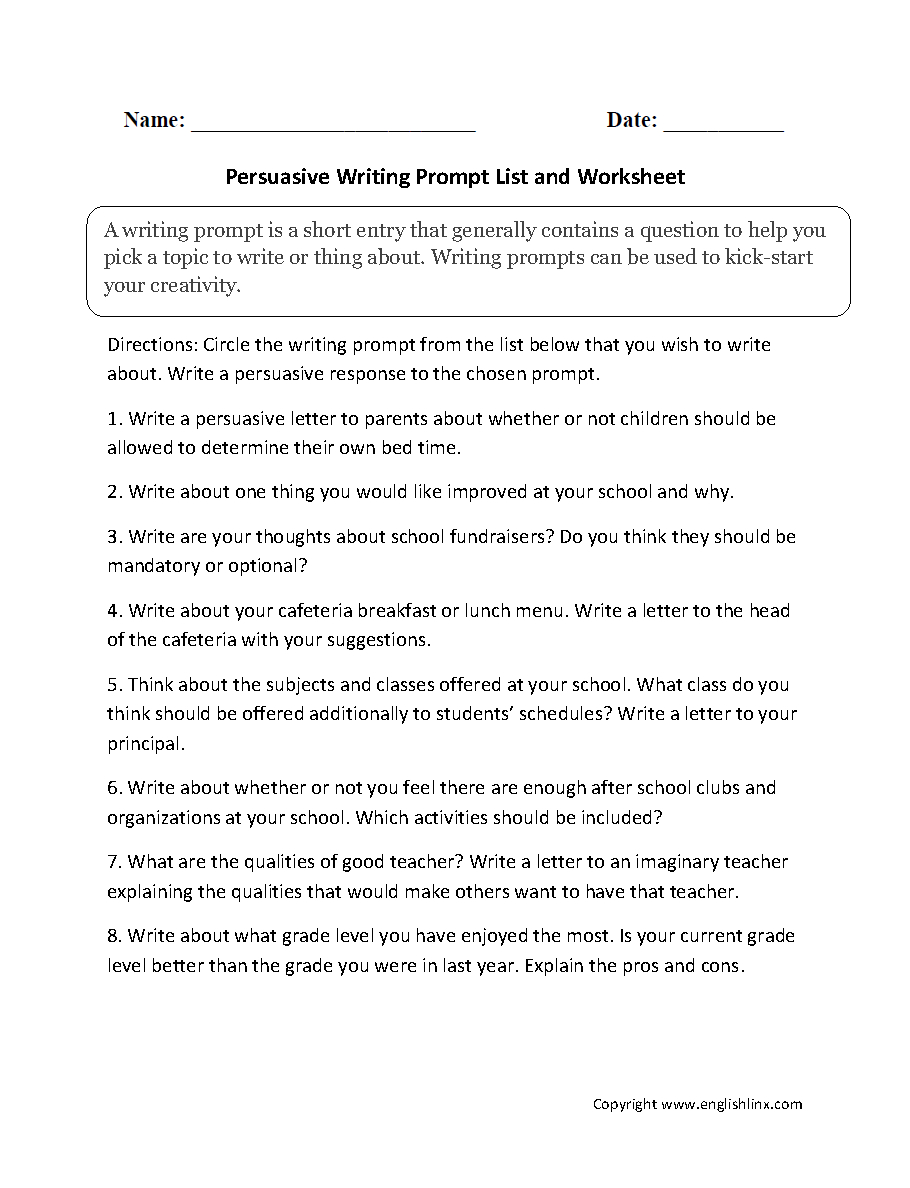 Writing Prompts Worksheets  Persuasive Writing Prompts Worksheets Intended For Persuasive Writing Worksheets