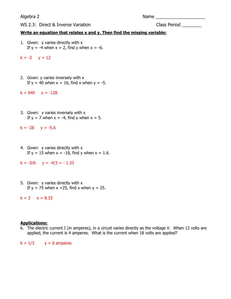 Ws 23 Answer Key For Algebra 2 Worksheets With Answer Key