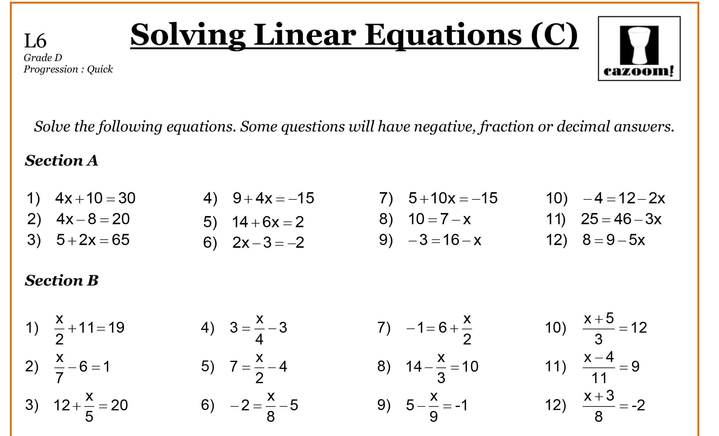 Year 8 Maths Worksheets  Cazoom Maths Worksheets With Regard To Math Algebra Worksheets