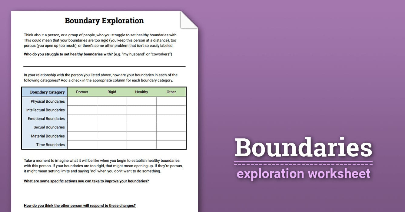 Boundaries Exploration Worksheet  Therapist Aid Also Setting Healthy Boundaries In Recovery Worksheets