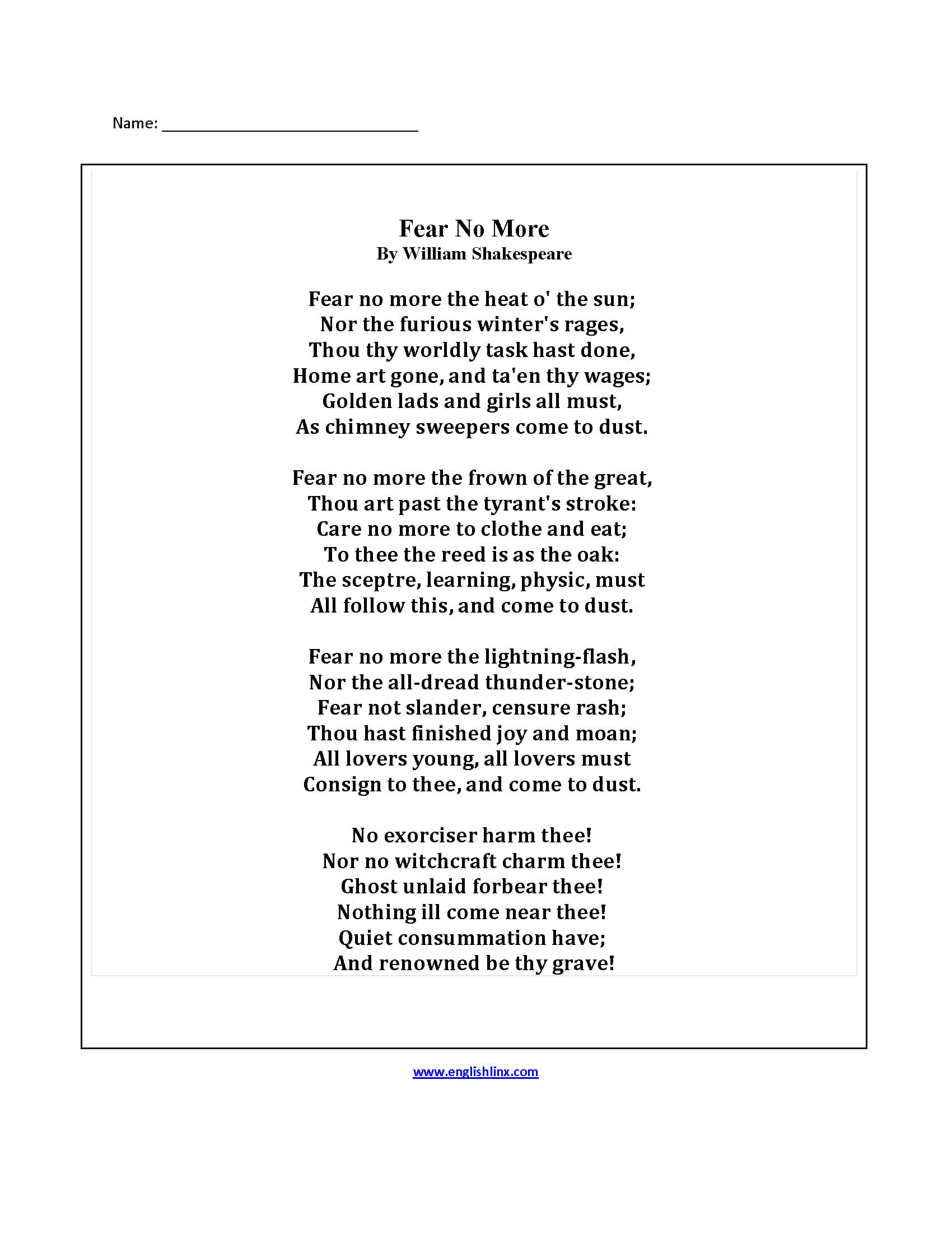 Englishlinx  Poetry Worksheets Along With 5Th Grade Poetry Worksheets