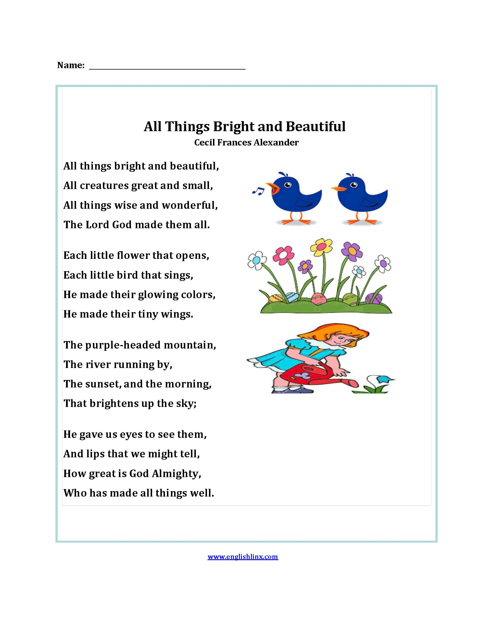 Englishlinx  Poetry Worksheets Throughout 5Th Grade Poetry Worksheets