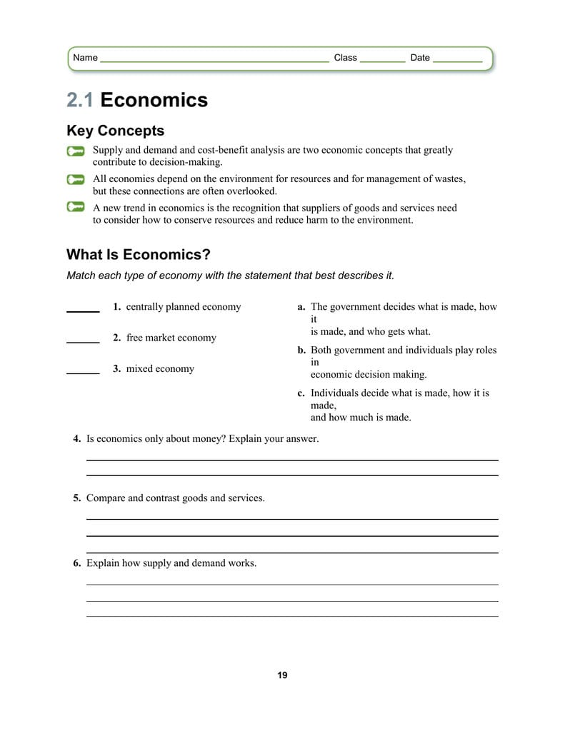 The Market Economy Worksheet Answer Key — excelguider.com