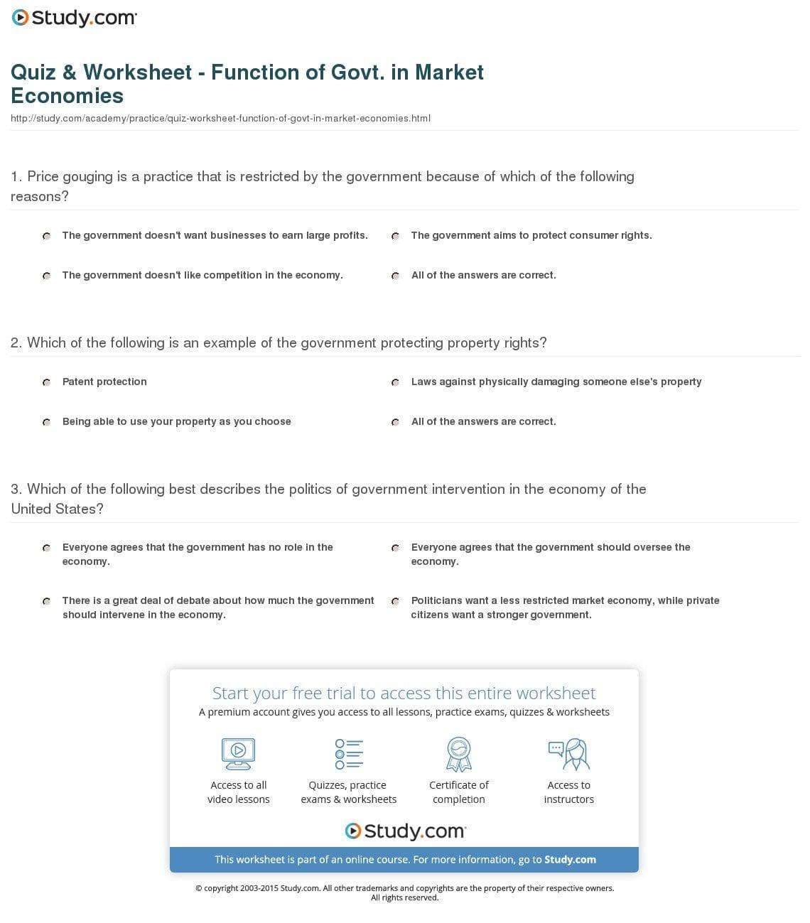 Quiz  Worksheet  Function Of Govt In Market Economies Together With The Market Economy Worksheet Answer Key