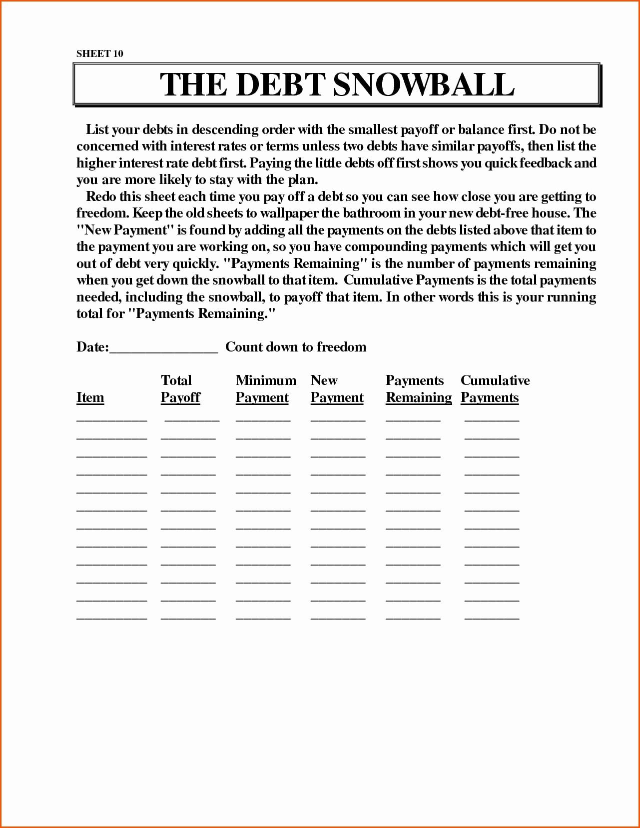 Dave Ramsey Debt Snowball Worksheets — excelguider.com